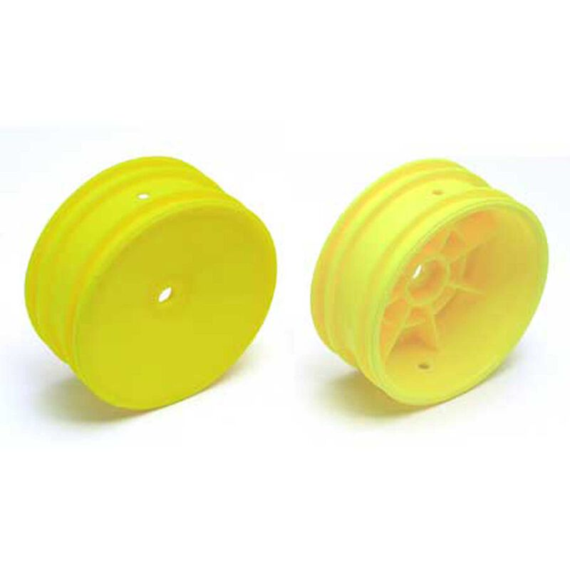 1/10 Front 12mm Hex Wheels, Yellow (2): Buggy