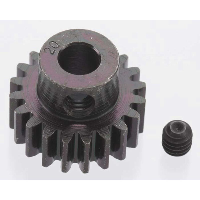 Extra Hard 20 Tooth Blackened Steel 32p Pinion, 5mm