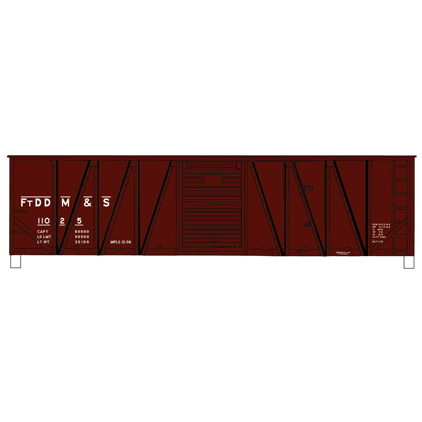HO KIT 40' Wood Outside Braced Box FtDDM&S