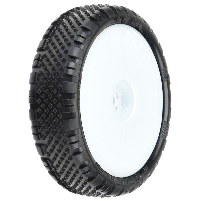 "Prism 2.2"" 2WD Z4 Tires, White Wheel Mounted (2): RB7, B6, B6D"