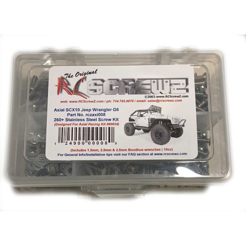 Stainless Steel Screw Set: Axial SCX10 Jeep Wrangler G6