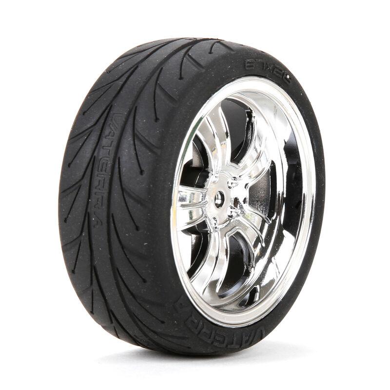 1/10 Front 54x26mm 5-Spoke Premounted Tires, Chrome (2)
