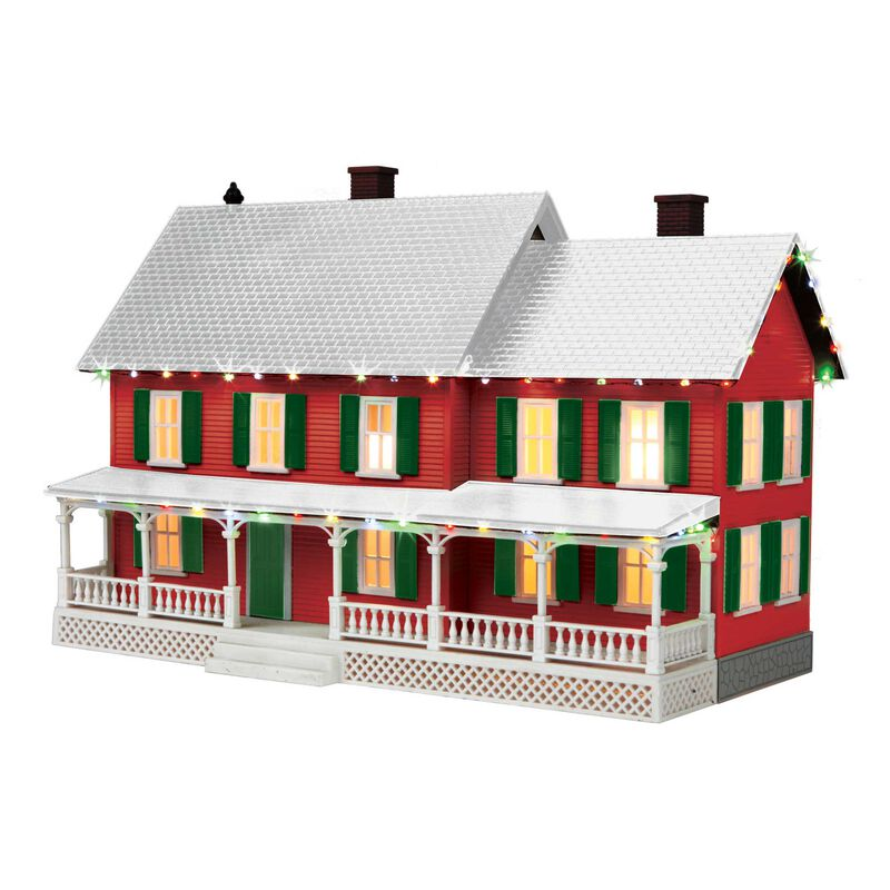 O #4 Country House w Operating Christmas Light Red