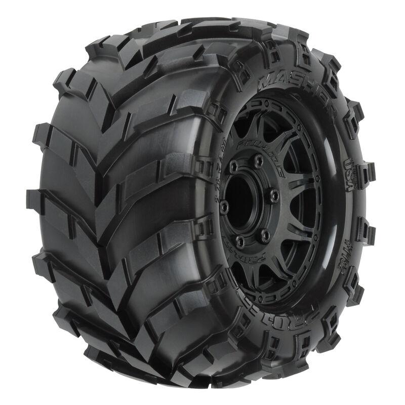 "1/10 Masher F/R 2.8"" Mounted Tires MT 12mm (2) Black"