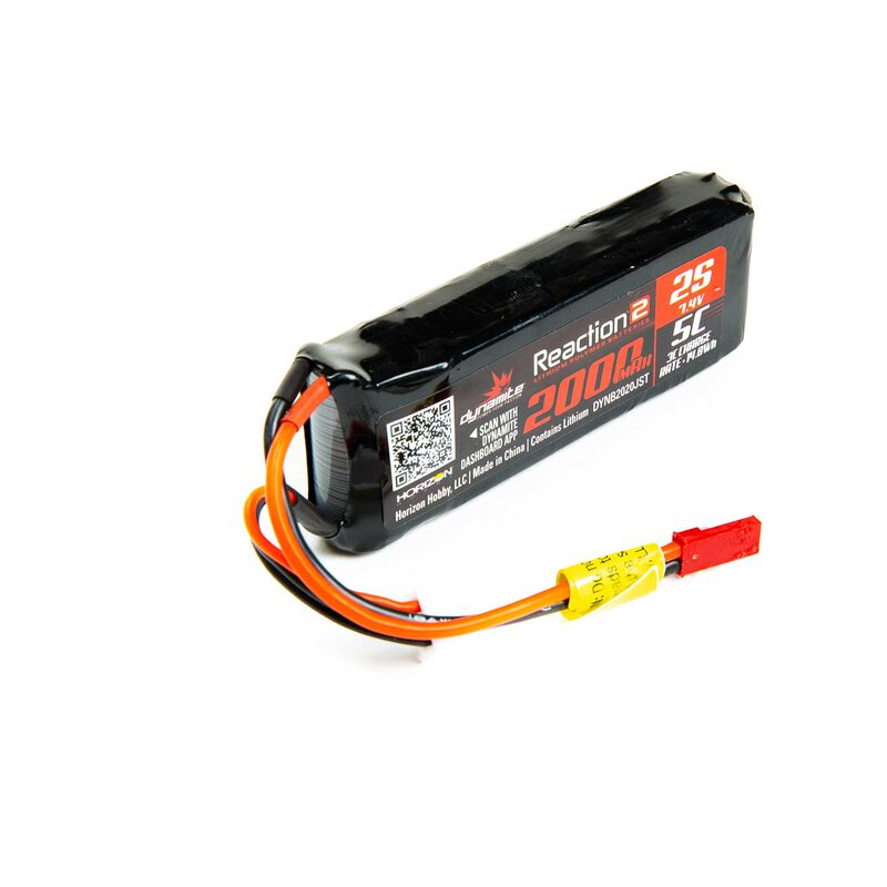 7.4V 2000mAh 2S 5C Reaction 2.0 LiPo Receiver Battery: JST