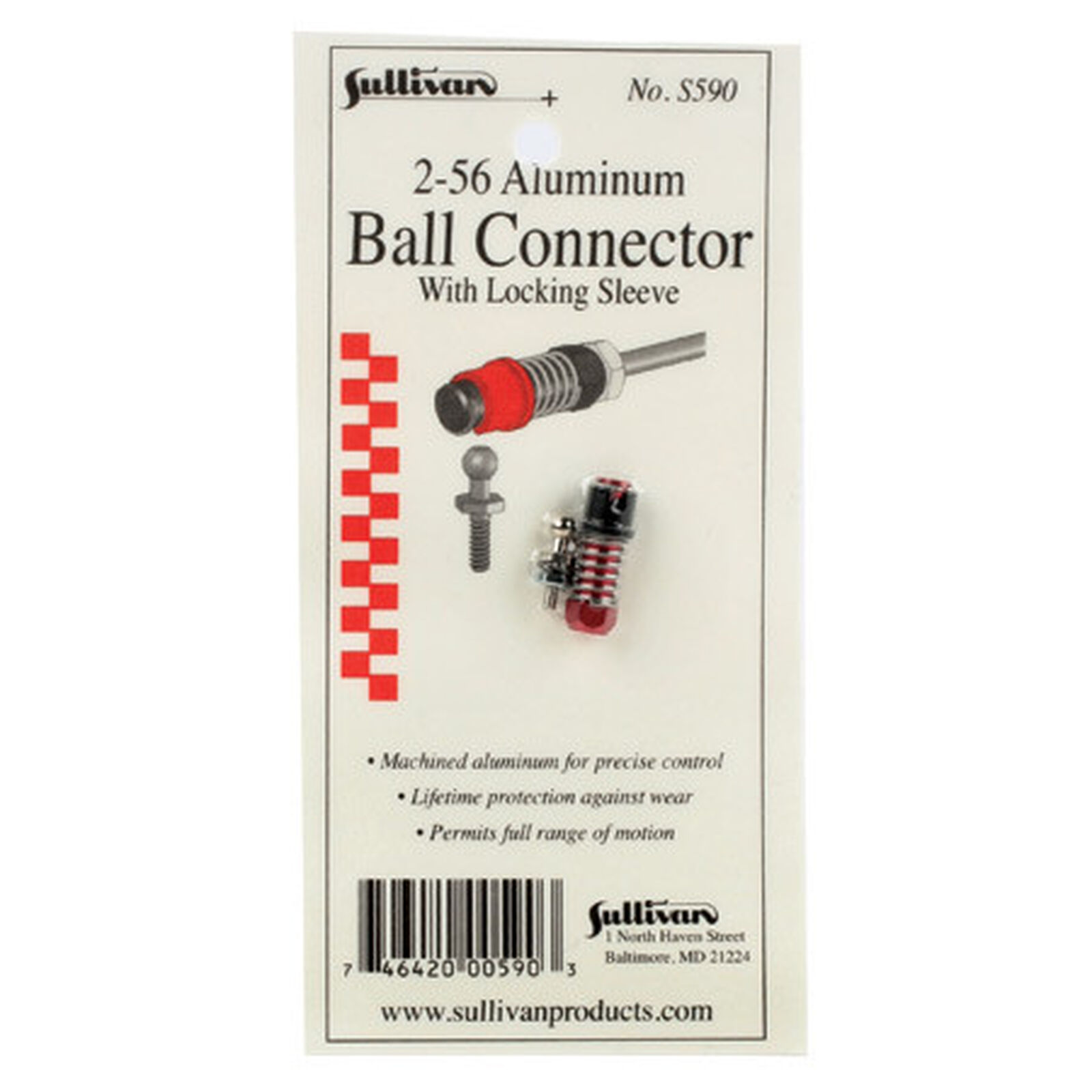 2-56 Aluminum Ball Link with Locking Sleeve (Red)