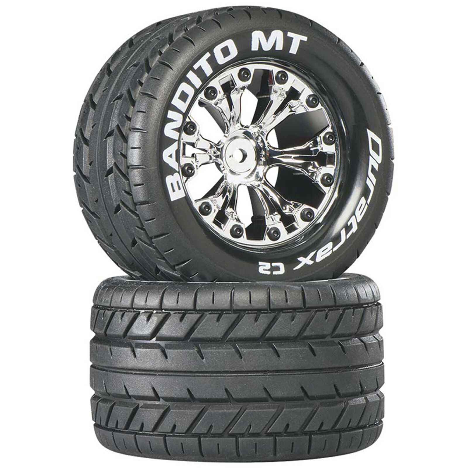 """Bandito MT 2.8"""" 2WD Mounted Rear Tires, Chrome (2)"""