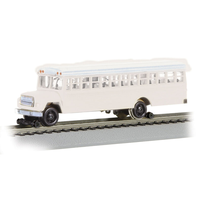 HO Bus w/Highrailers, White