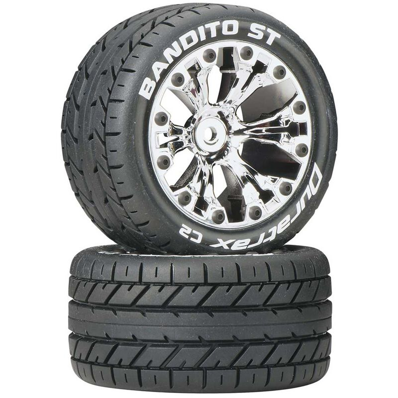 "Bandito ST 2.8"" 2WD Mounted Rear C2 Tires, Chrome (2)"