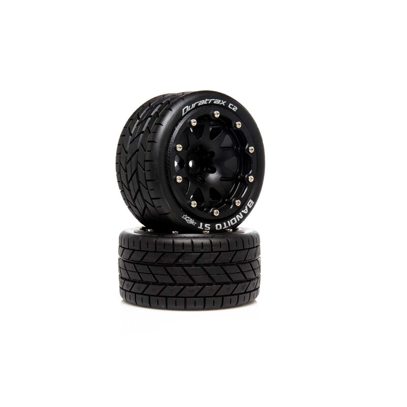 "Bandito ST Belted 2.8"" 2WD Mounted Rear Tires, .5 Offset, Black (2)"