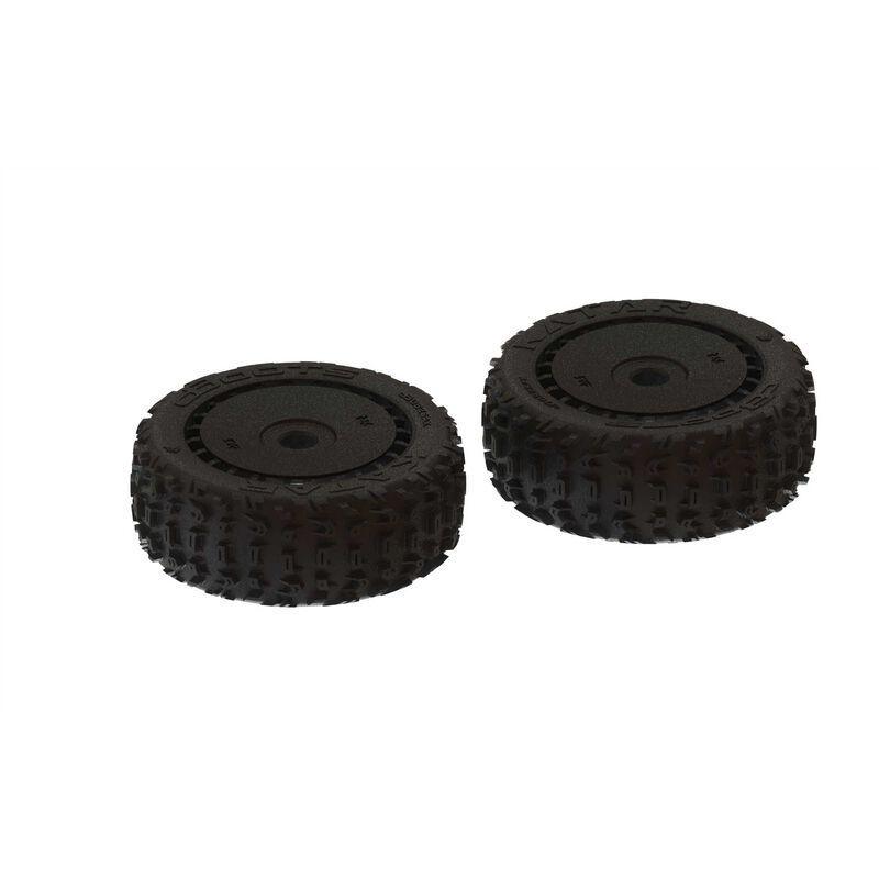 1/8 dBoots Front/Rear 3.3 Pre-Mounted Tires, 17mm Hex, Black (2): Katar B 6S