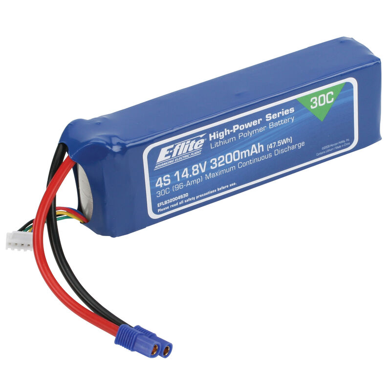 14.8V 3200mAh 4S 30C LiPo Battery: EC3
