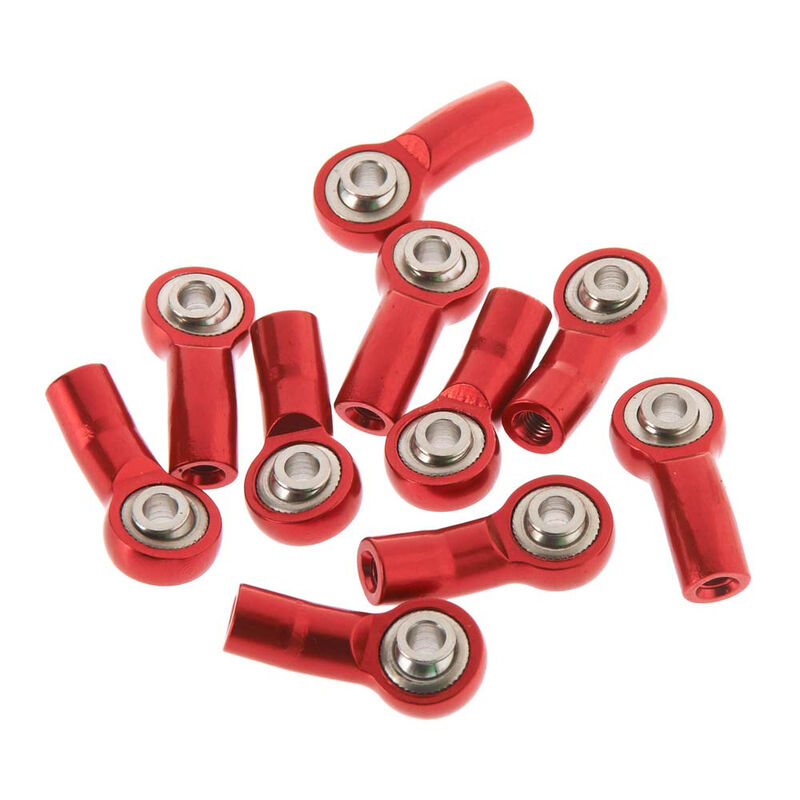 M3 Bent Short Aluminum Rod Ends, Red (10)