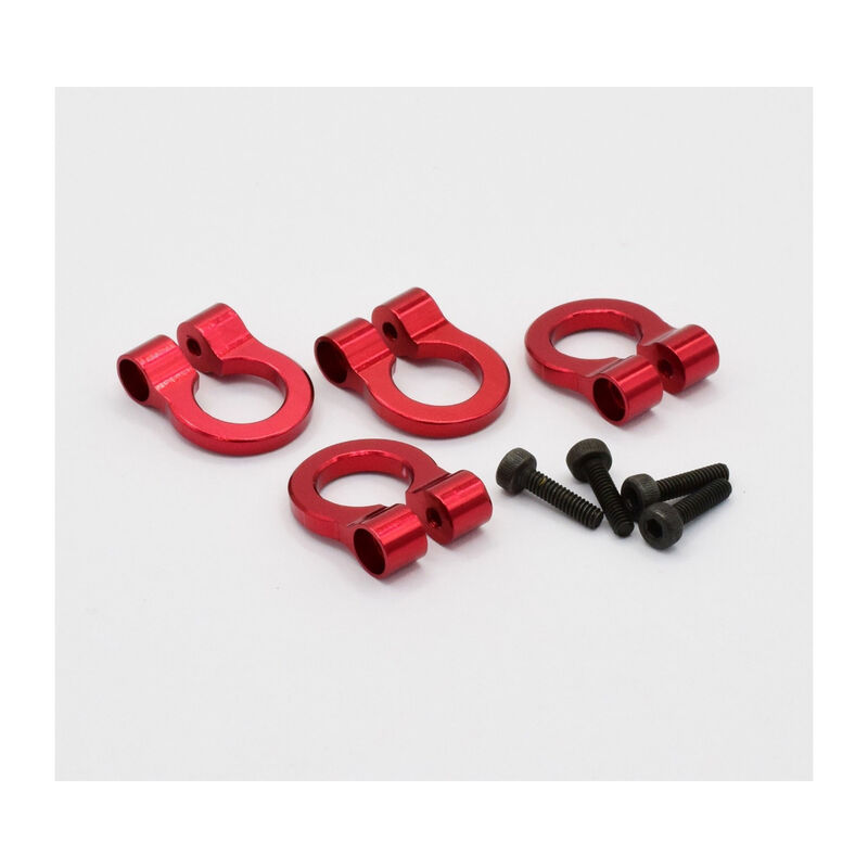 1/10 Scale Aluminum Red Tow Shackle D-Rings (4)