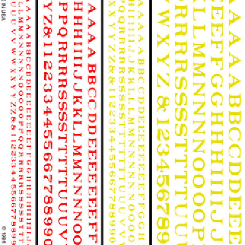 Railroad Roman Letters, Red/Yellow