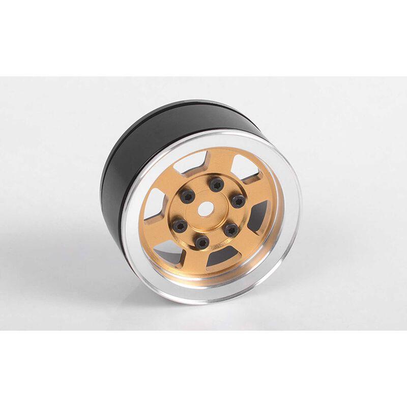 """1/10 Six-Spoke 1.55"""" Front/Rear Internal Beadlock Wheel, 12mm Hex, Gold (1)"""