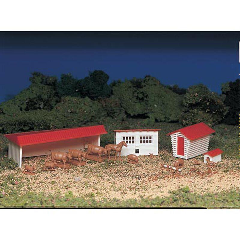 HO Snap KIT Farm Building w/Animals