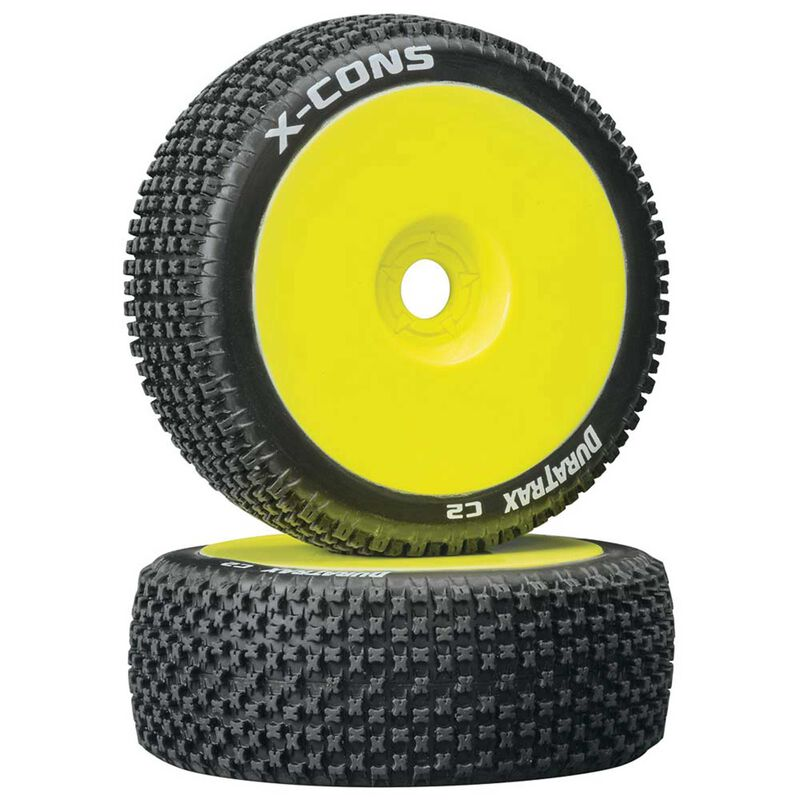 X-Cons 1/8 C2 Mounted Buggy Tires, Yellow (2)