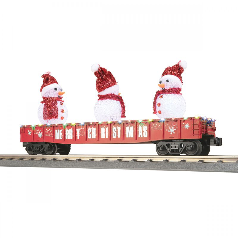O-27 Gondola with LED Lighted Snowmen Red