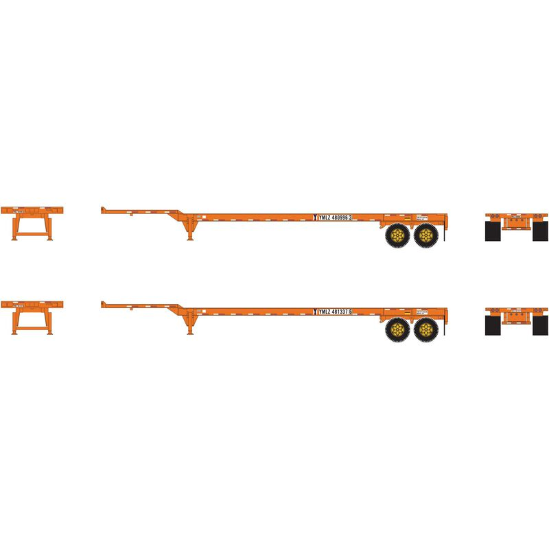 HO RTR 45' Container Chassis Yang Ming (2)