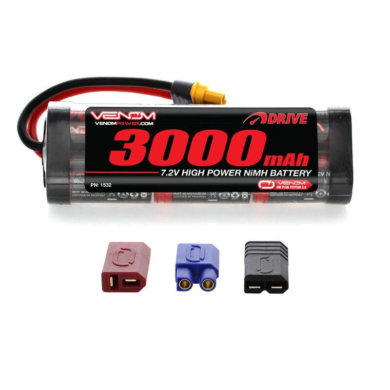 7.2V 3000mAh 6-Cell DRIVE Flat NiMH Battery: UNI 2.0 Plug
