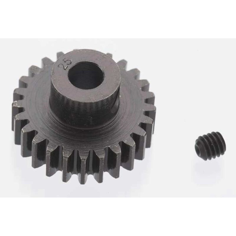 Extra Hard 25 Tooth Blackened Steel 32p Pinion, 5mm