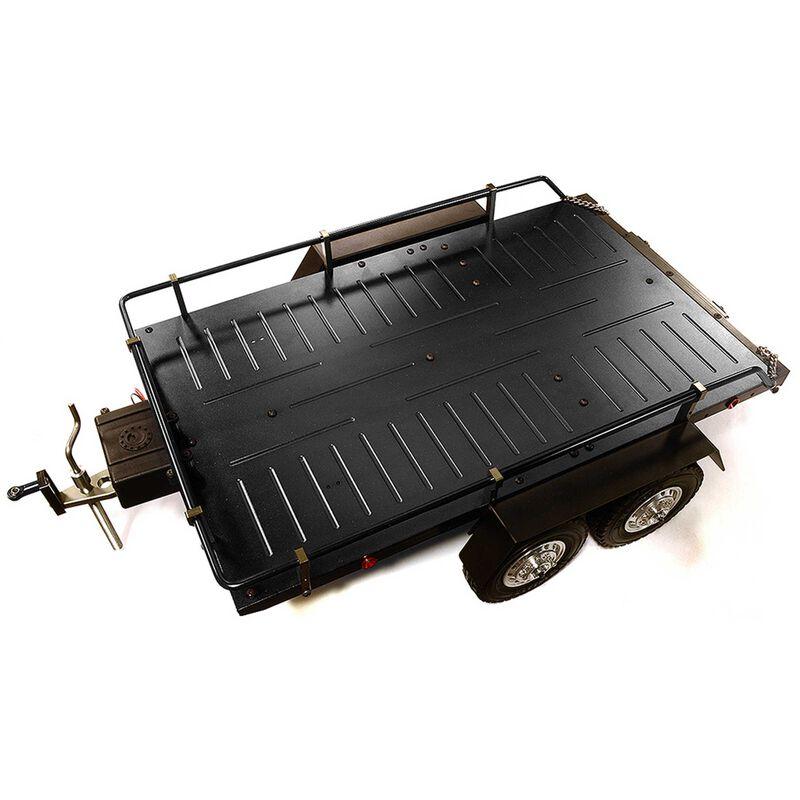 Alloy Flatbed Dual Axle Car Trailer, Black: 1/10 RC