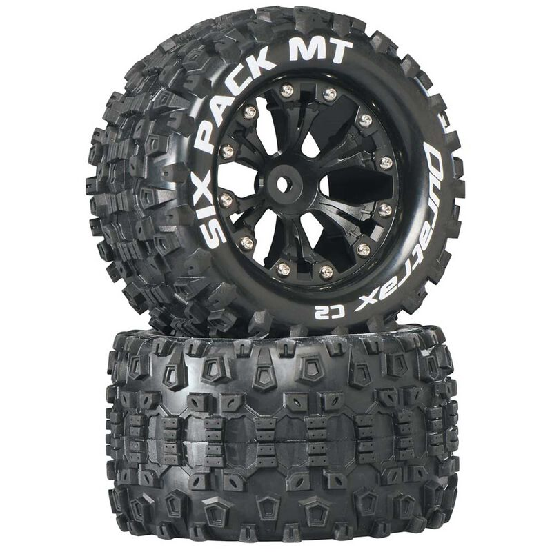 "Six-Pack MT 2.8"" 2WD Mounted Rear C2 Tires, Black (2)"
