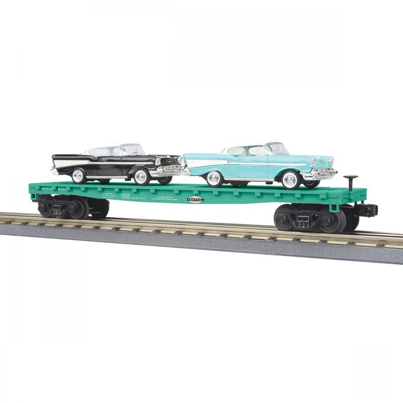 O-27 Auto Carier Flat Car with 2 '57 Chevy NYC