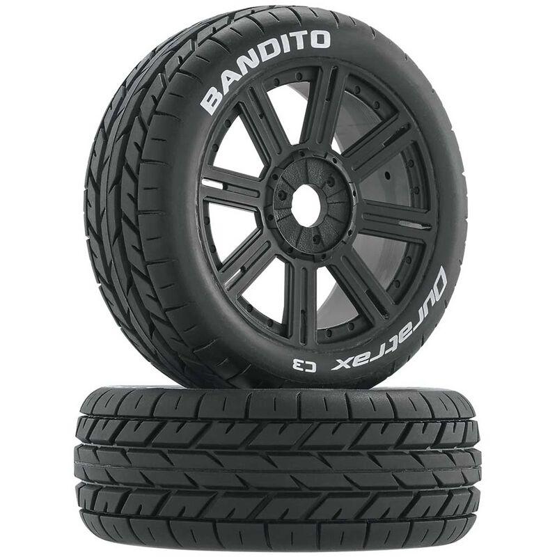 Bandito 1/8 Buggy Tire C3 Mounted Spoke Tires, Black (2)