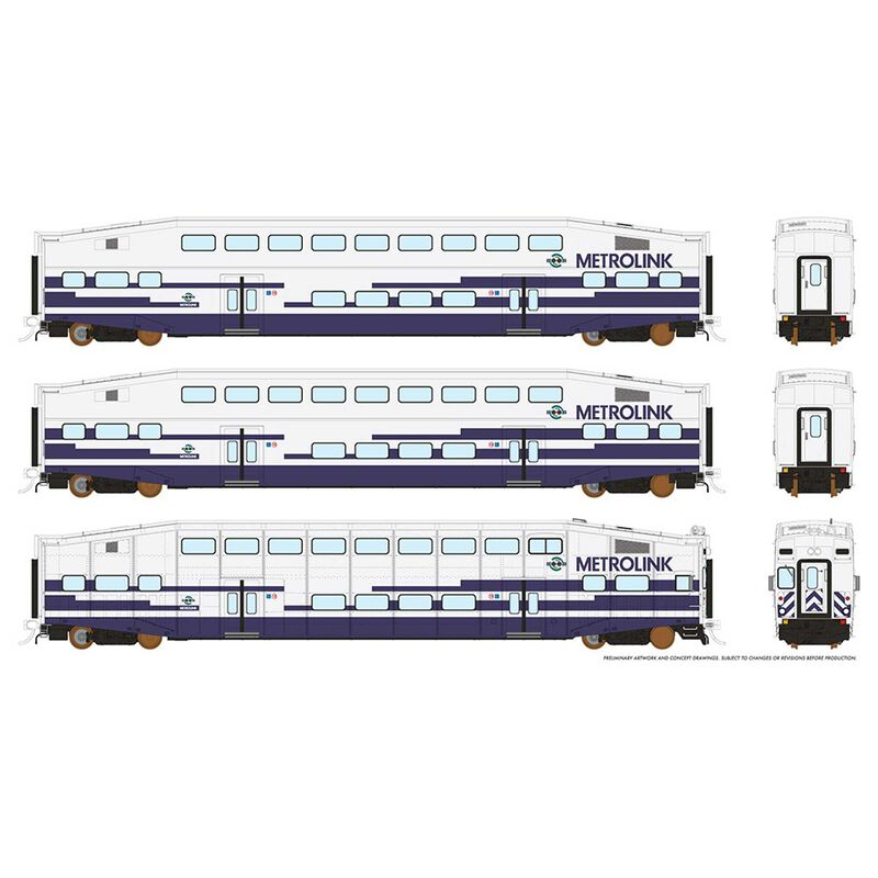 HO BiLevel Commuter Car - Metrolink: Set #2