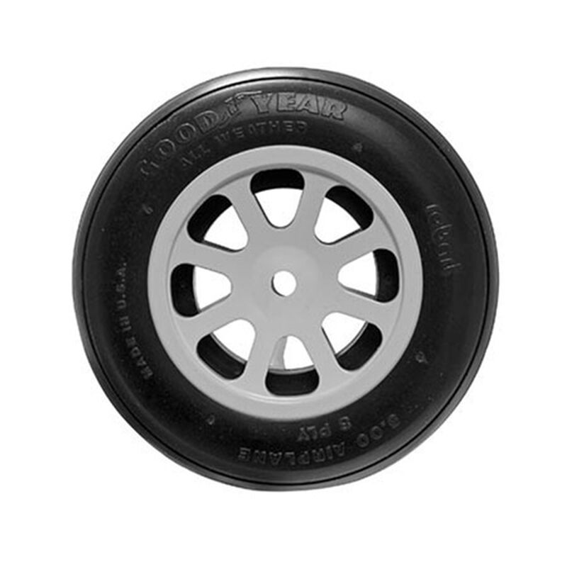 """Robart 5"""" Aluminum Wheel & Tire, White (1): F4U-1D Corsair 60cc"""