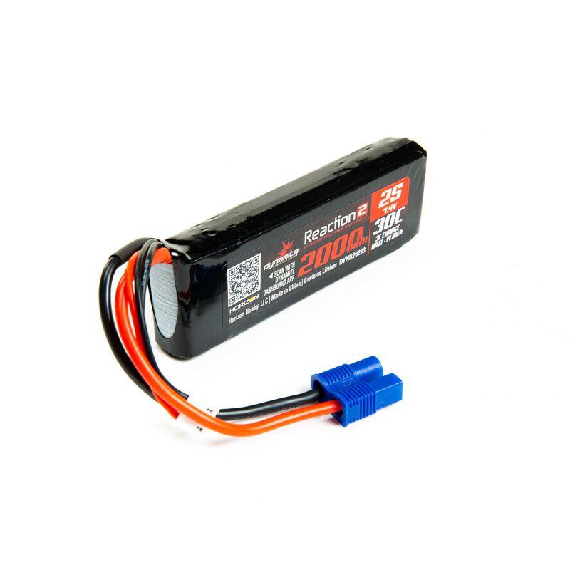 7.4V 2000mAh 2S 30C Reaction 2.0 LiPo Battery: EC3