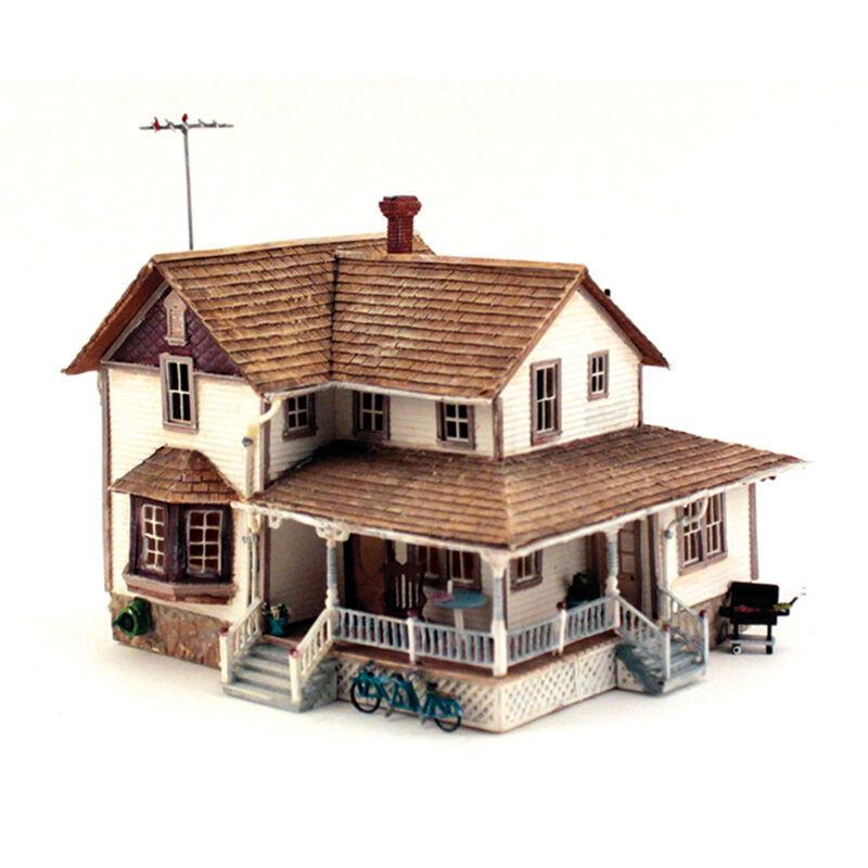 HO Built-Up Corner Porch House