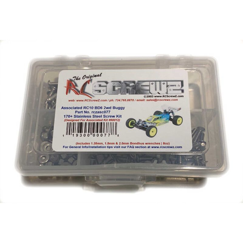 Stainless Steel Screw Set: Team Associated RC10BD6 2WD Buggy