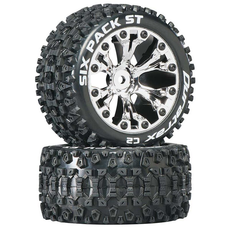 """Six Pack ST 2.8"""" 2WD Mounted Rear C2 Tires, Chrome (2)"""