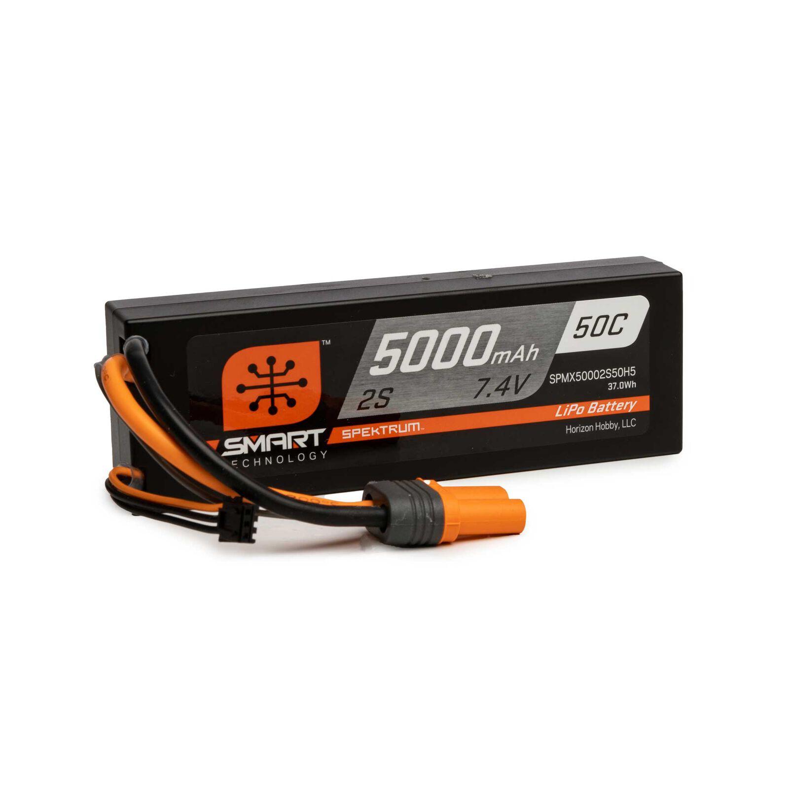 7.4V 5000mAh 2S 50C Smart Hardcase LiPo Battery: IC5