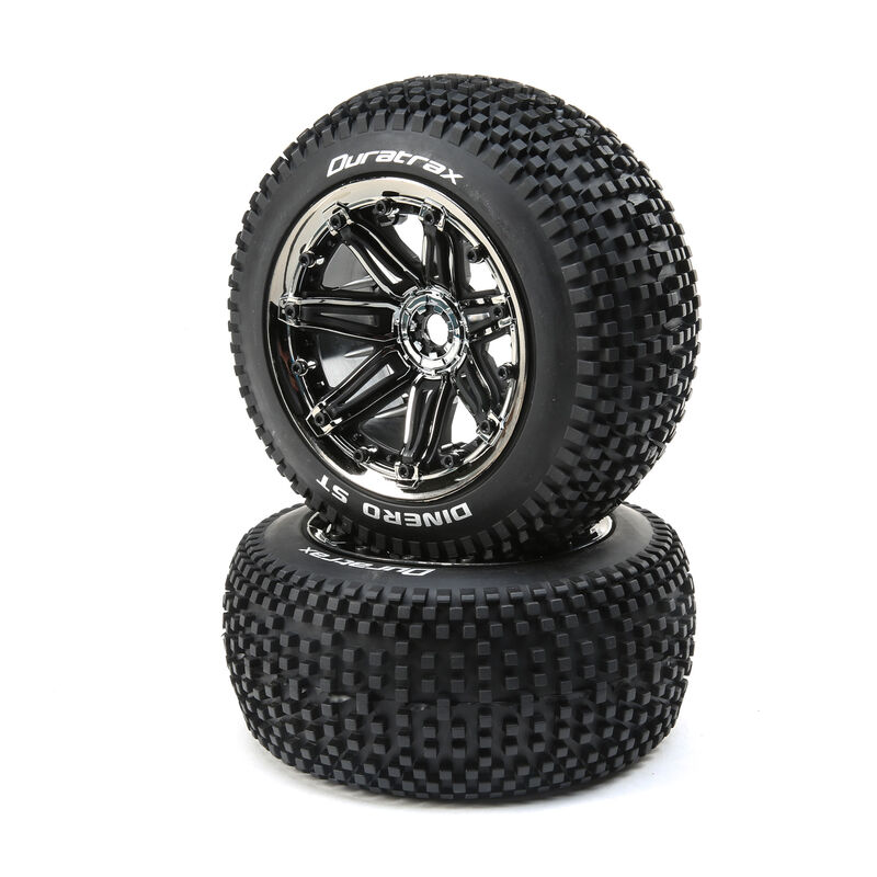 Dinero 1/8 ST Sport Mounted Black Tires with Chrome 17mm (2)