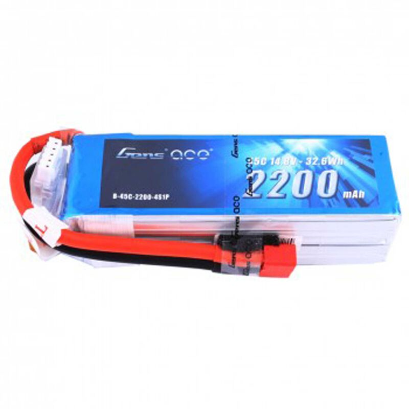 14.8V 2200 Capacity 4S Voltage 45C LiPo, Deans
