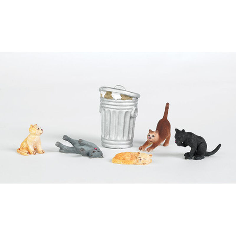 HO Cats w/Garbage Can (6)