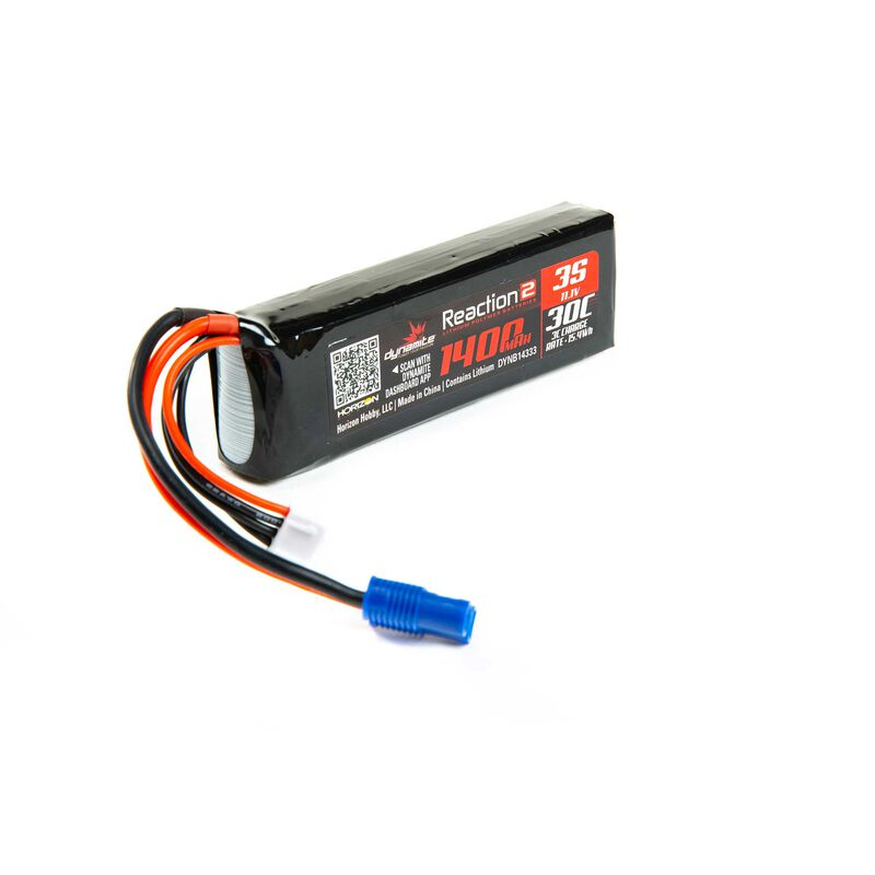 11.1V 1400mAh 3S 30C Reaction 2.0 LiPo Battery: EC3