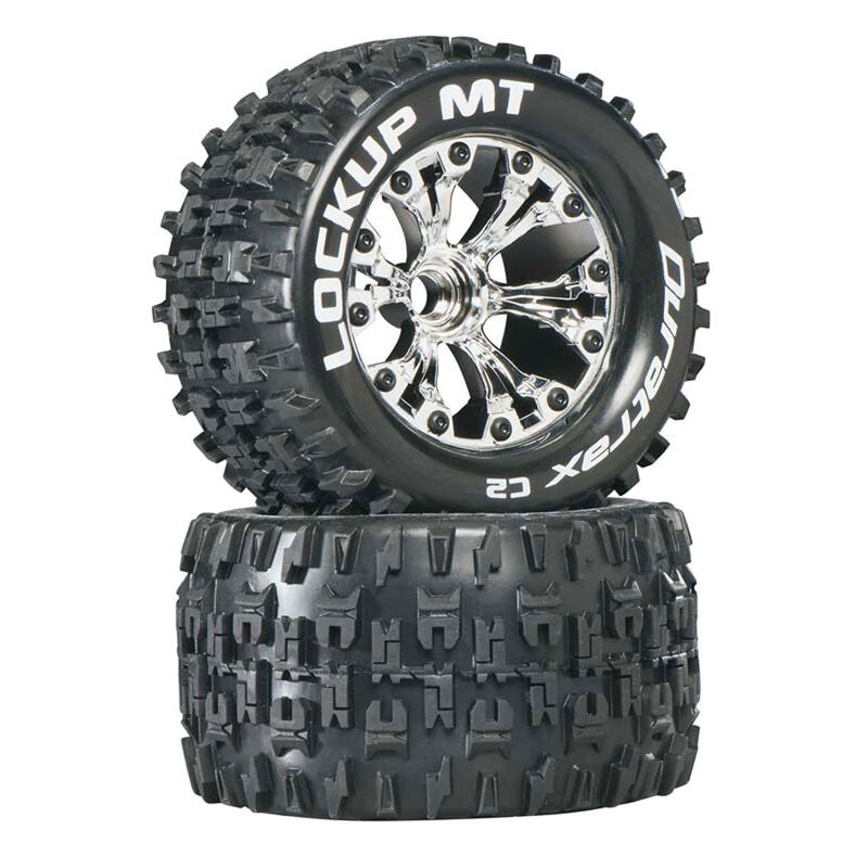 "Lockup MT 2.8"" 2WD Mounted Front Tires, Chrome (2)"