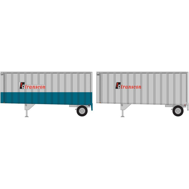 HO RTR 28' Trailers with Dolly Transcon (2)