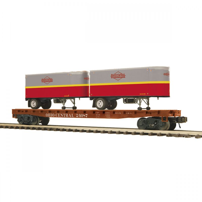 O Flat Car with PUP Trailers Ohio Central #24087 (2)