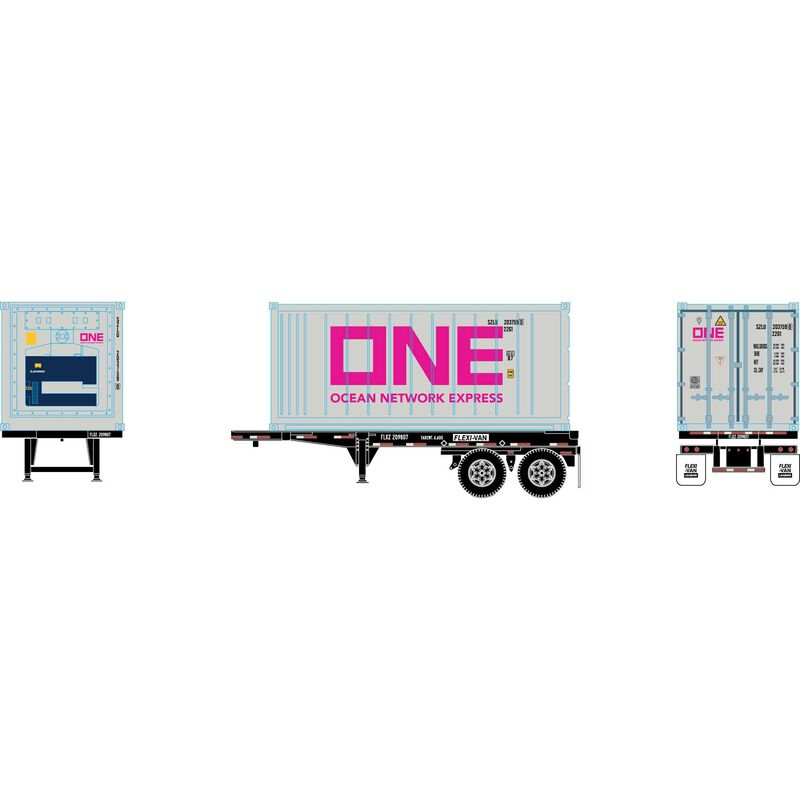 HO RTR 20' Chassis w  Reefer Container ONE