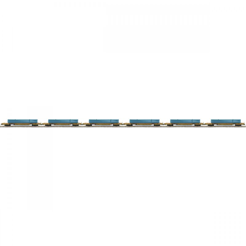 O 60' Flat Car with Pipe Load Set TTX (6)