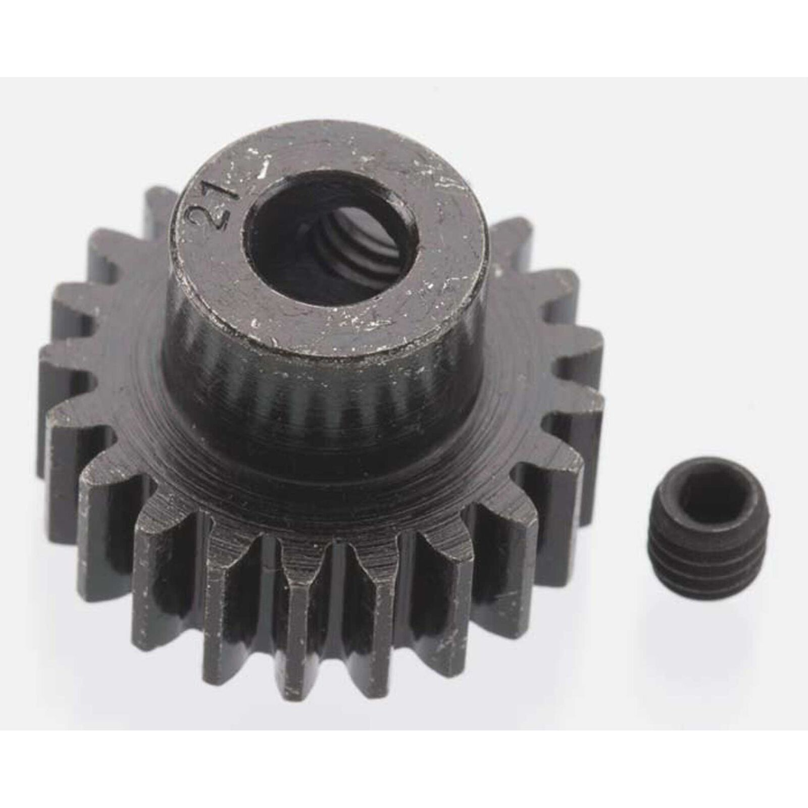 Extra Hard 21 Tooth Blackened Steel 32p Pinion, 5mm