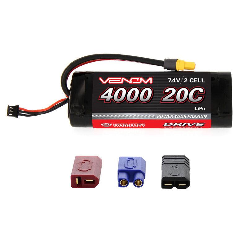7.4V 4000mAh 20C 2S DRIVE Hardcase LiPo Battery: UNI 2.0 Plug