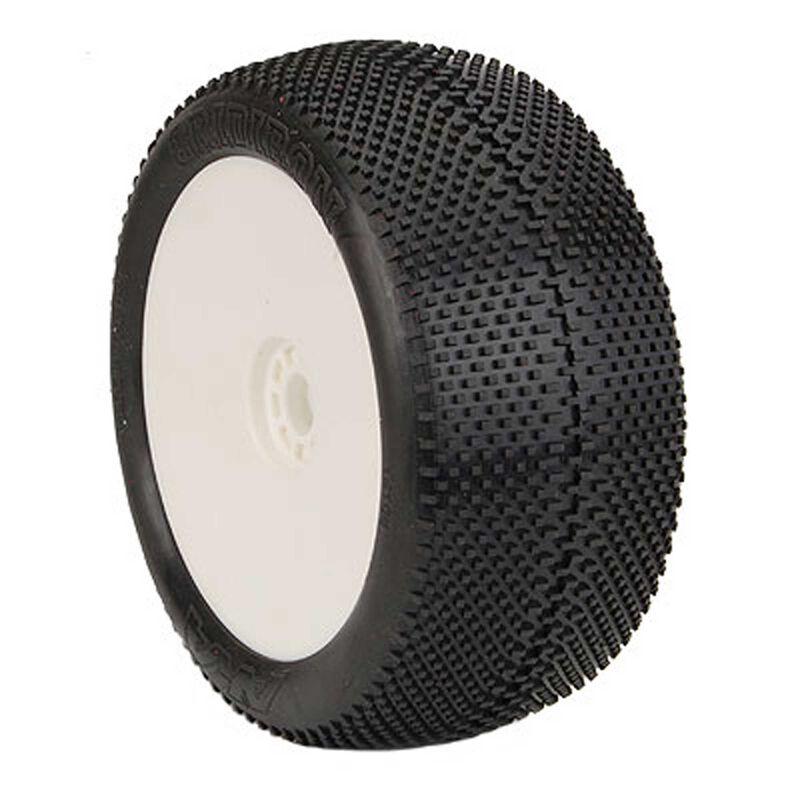 1/8 Truggy EVO GridIron Pre-Mounted Tires, White Wheels (2)