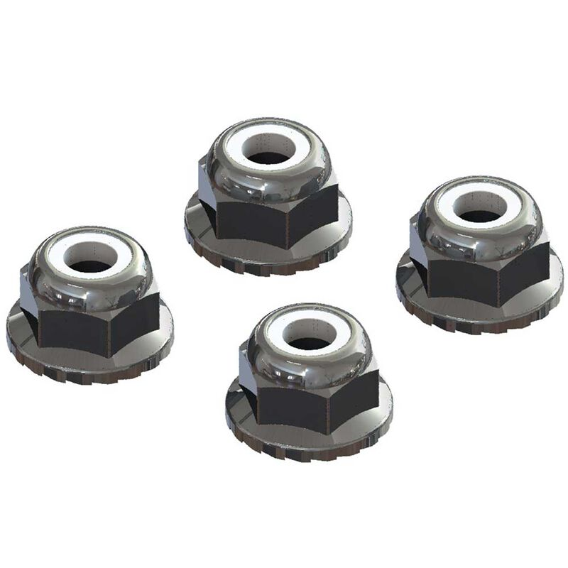 Flanged Nyloc Locknut 4mm, Silver (4)
